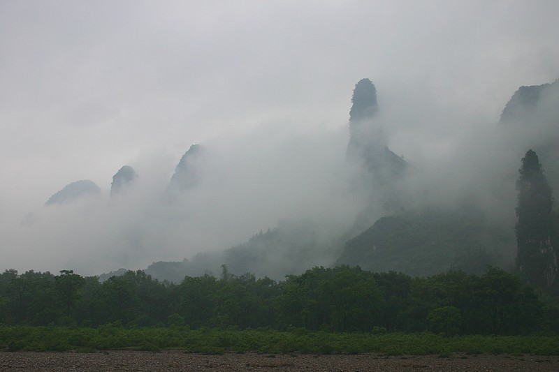 Majestic limestone peaks on the Li River, Tuilin