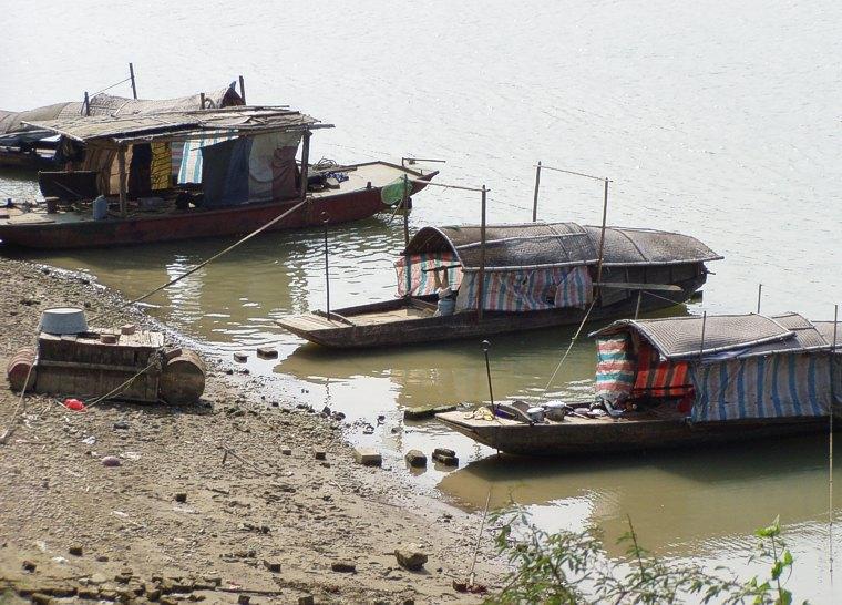 Fishing boats along river near Nanning