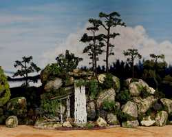 "diorama falls 0289Rock & Waterfallscarved from styrofoam36"" wide"