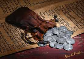 30 pieces of silver.Shekels on 350 year old Hebrew Manuscript.Judas Iscariot betrayal of Jesus for 30 pieces of Silver.